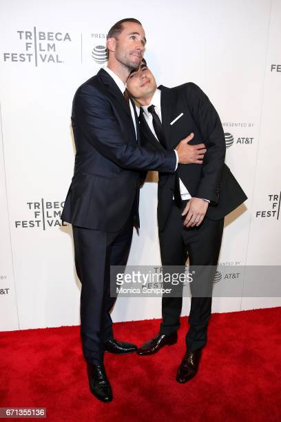 Actors Joseph Fiennes and Max Minghella attend the premiere of The Handmaid's Tale during Tribeca Film Festival at BMCC Tribeca PAC on April 21 2017...
