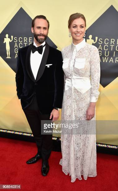 Actors Joseph Fiennes and Yvonne Strahovski attend the 24th Annual Screen Actors Guild Awards at The Shrine Auditorium on January 21 2018 in Los...
