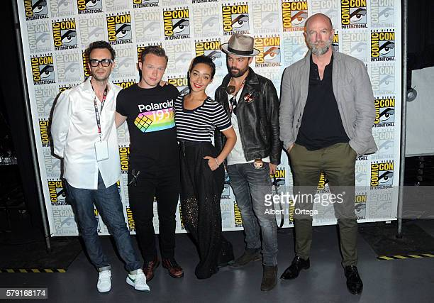 Actors Joseph Gilgun Ian Colletti Ruth Negga Dominic Cooper and Graham McTavish attend AMC's Preacher panel during ComicCon International 2016 at San...