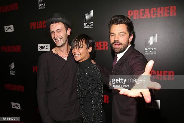 Actors Joseph Gilgun Ruth Negga�� and Dominic Cooper attend the Los Angeles Premiere of AMC's 'Preacher' on May 14 2016 in Los Angeles California