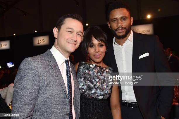 Actors Joseph GordonLevitt Kerry Washington and former NFL player Nnamdi Asomugha attend the 2017 Film Independent Spirit Awards at the Santa Monica...