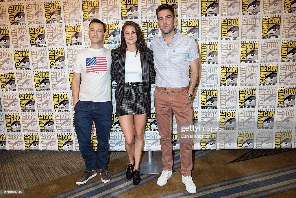 Actors Joseph Gordon-Levitt, Shailene Woodley, and Zachary Quinto attend the 'Snowden' press line during Comic-Con International 2016 - Day 1 at Hilton Bayfront on July 21, 2016 in San Diego, California.