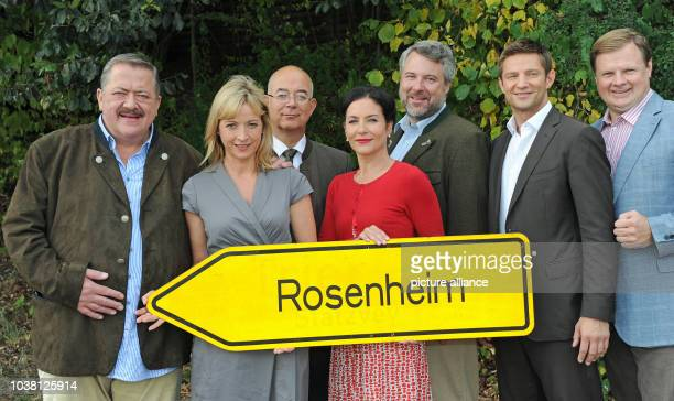 Actors Joseph Hannesschlaeger Katharina Abt Alexander Duda Marisa Burger Dieter Fischer Igor Jeftic and Michael A Grimm pose during the filming of...