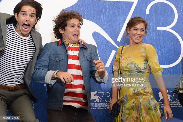 Actors Joseph Haro Brando Pacitto and Matilda Lutz jump during a photocall of the movie L'Estate Addosso presented out of competition at the 73rd...