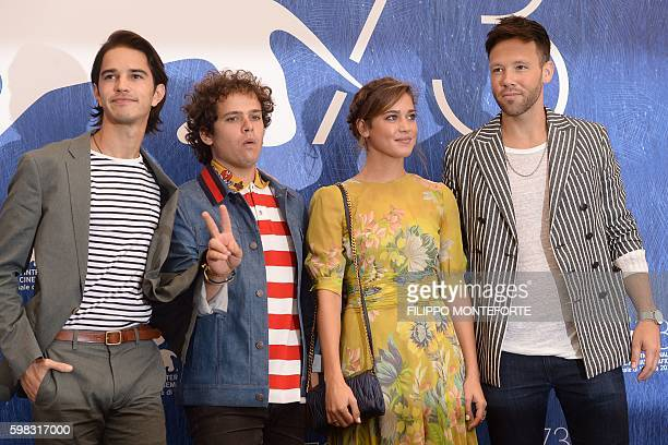 Actors Joseph Haro Brando Pacitto Matilda Lutz and Taylor Frey pose during a photocall of the movie L'Estate Addosso presented out of competition at...