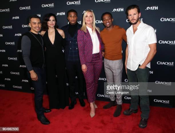 Actors Joseph Julian Soria Katrina Law Cory Hardrict Elisabeth Rohm Arlen Escarpeta and Ryan Kwanten attend a photo call for Crackle's The Oath at...