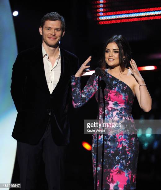 Actors Joseph Morgan and Lucy Hale speak onstage at The 40th Annual People's Choice Awards at Nokia Theatre LA Live on January 8 2014 in Los Angeles...