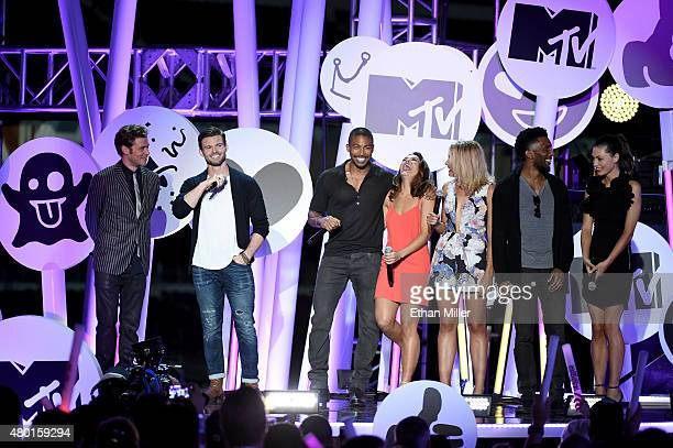 Actors Joseph Morgan Daniel Gillies Charles Michael Davis Danielle Campbell Leah Pipes Yusuf Gatewood and Phoebe Tonkin from 'The Originals'...