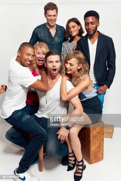 Actors Joseph Morgan Phoebe Tonkin and Yusuf Gatewood and actor Charles Michael Davis creator Julie Plec and actors Daniel Gillies and Leah Pipes...