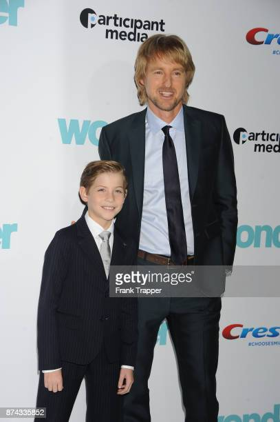 Actors Joseph Tremblay and Owen Wilson attend Lionsgate's premiere of 'Wonder' held at the Regency Village Theatre on November 14 2017 in Westwood...