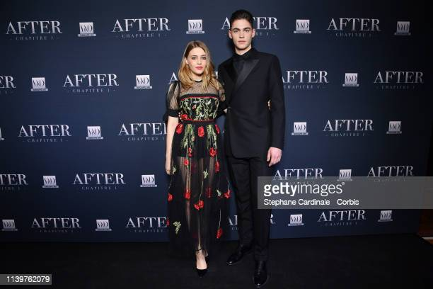 Actors Josephine Langford and Hero FiennesTiffin attend the After Photocall at Hotel Royal Monceau Raffle on April 01 2019 in Paris France