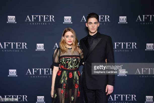 "Actors Josephine Langford and Hero Fiennes-Tiffin attend the ""After"" Photocall at Hotel Royal Monceau Raffle on April 01, 2019 in Paris, France."