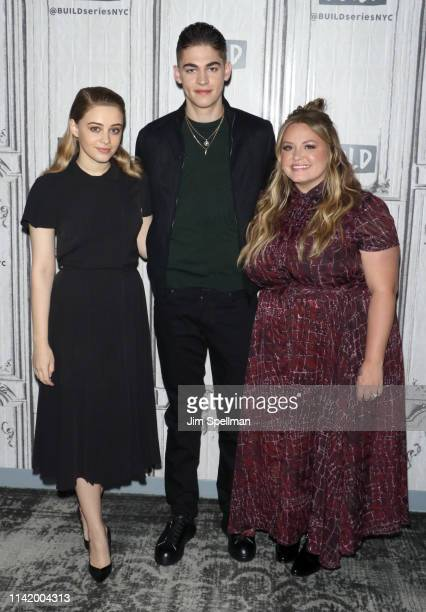 Actors Josephine Langford Hero FiennesTiffin and author Anna Todd attend the Build Brunch at Build Studio on April 11 2019 in New York City