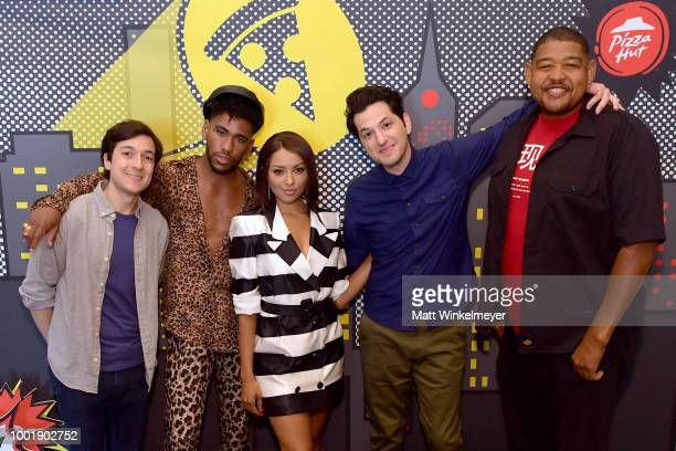 Actors Josh Brener Brandon Mychal Smith Kat Graham Ben Schwartz and Omar Miller of the show Rise of the Teenage Mutant Ninja Turtles attend the Pizza...
