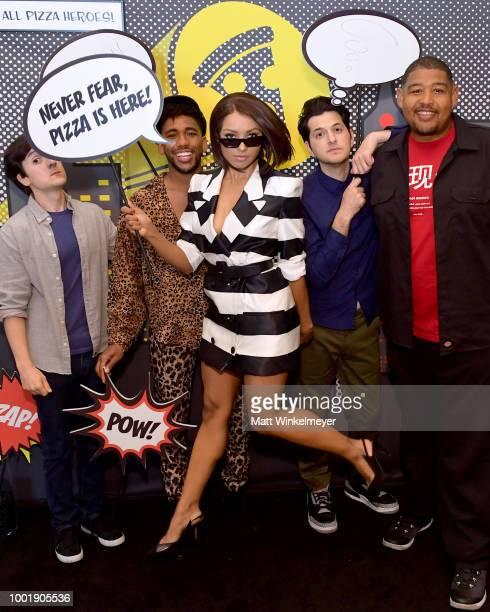 "Actors Josh Brener, Brandon Mychal Smith, Kat Graham, Ben Schwartz and Omar Miller of the show ""Rise of the Teenage Mutant Ninja Turtles"" attend the..."