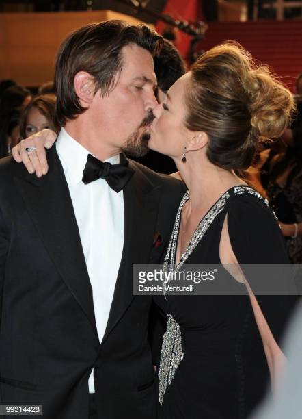 Actors Josh Brolin and Diane Lane kiss as they depart the Premiere of 'Wall Street: Money Never Sleeps' held at the Palais des Festivals during the...