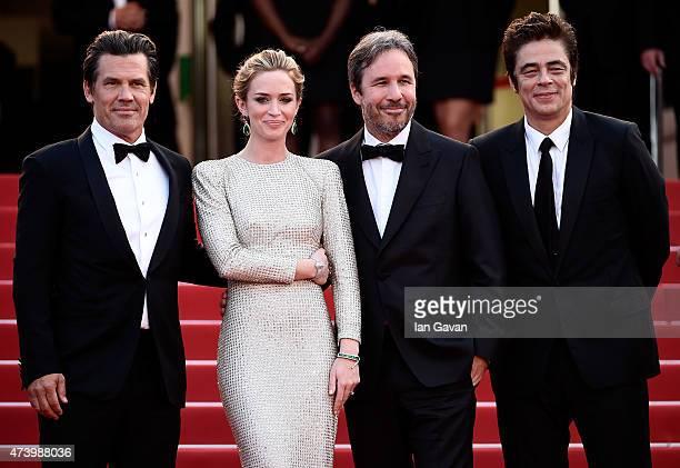 Actors Josh Brolin and Emily Blunt director Denis Villeneuve and actor Benicio Del Toro attend the 'Sicario' premiere during the 68th annual Cannes...