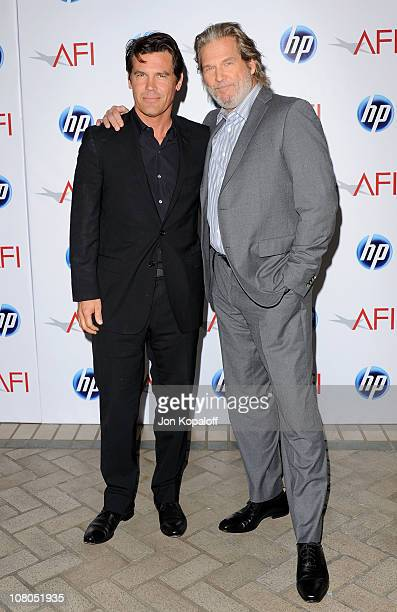 Actors Josh Brolin and Jeff Bridges arrive at the 2011 AFI Awards at The Four Seasons Hotel on January 14, 2011 in Beverly Hills, California.