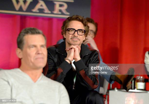 Actors Josh Brolin and Robert Downey Jr at the Avengers Infinity War Press Junket in Los Angeles CA April 22nd 2018