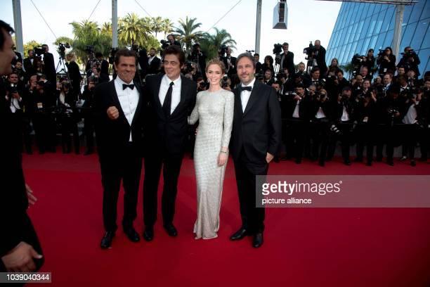Actors Josh Brolin Benicio Del Toro Emily Blunt and director Denis Villeneuve attend the premiere of Sicario during the 68th Annual Cannes Film...