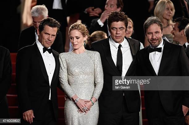 Actors Josh Brolin Emily Blunt and Benicio Del Toro and director Denis Villeneuve leave the Premiere of Sicario during the 68th annual Cannes Film...