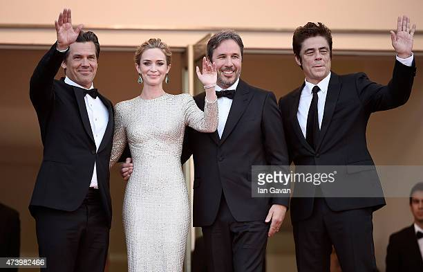 Actors Josh Brolin Emily Blunt director Denis Villeneuve and actor Benicio Del Toro attend the 'Sicario' Premiere during the 68th annual Cannes Film...