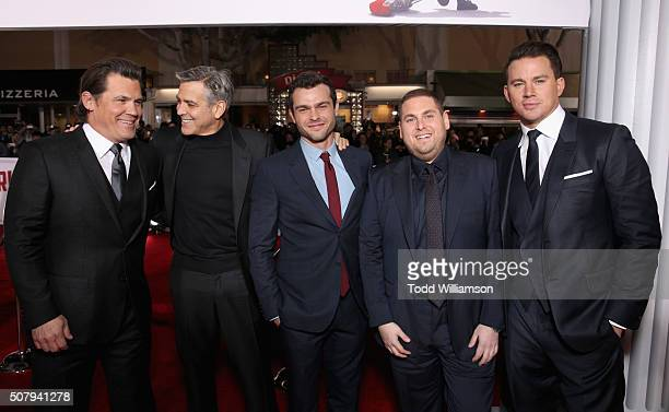 Actors Josh Brolin George Clooney Alden Ehrenreich Jonah Hill and Channing Tatum attend Universal Pictures' Hail Caesar premiere at Regency Village...
