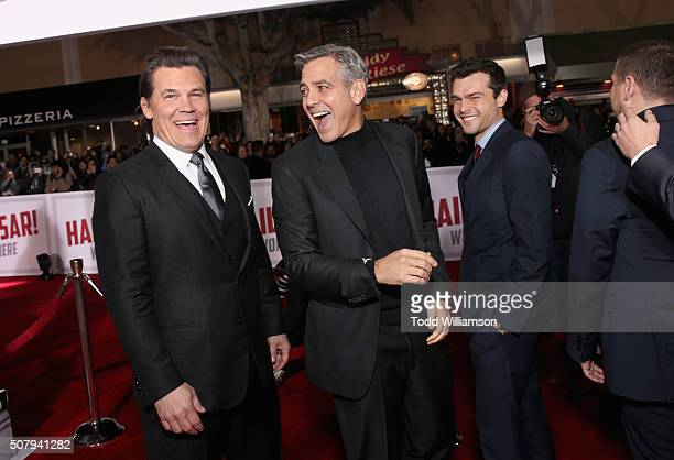 Actors Josh Brolin George Clooney and Alden Ehrenreich attend Universal Pictures' Hail Caesar premiere at Regency Village Theatre on February 1 2016...