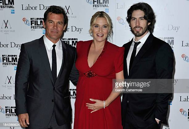 Actors Josh Brolin Kate Winslet and director Jason Reitman attend the Mayfair Gala European Premiere of 'Labor Day' during the 57th BFI London Film...
