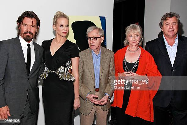 Actors Josh Brolin Lucy Punch director Woody Allen actress Gemma Jones and Tom Bernard Sony Pictures Classics copresident attend the Cinema Society...