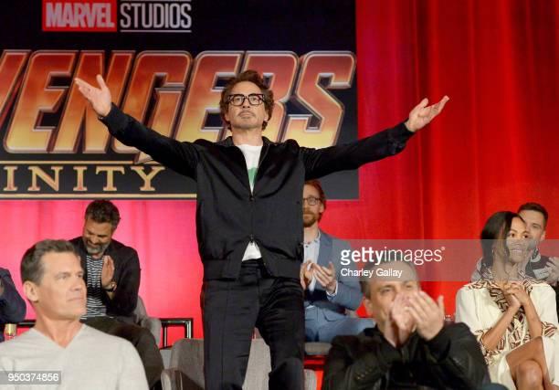 Actors Josh Brolin Mark Ruffalo Robert Downey Jr Tom Hiddleston director Joe Russo and actor Zoe Saldana attend the Global Press Conference at the...