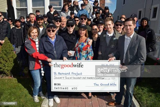 Actors Josh Charles Jerry Adler Julianna Margulies Chris Noth Archie Panjabi Matt Czuchry Zach Grenier present a check to the St Bernard Project as...