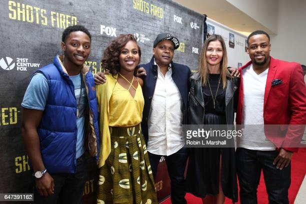 Actors Josh Chris DeWanda Wise creator Reggie ByTheWood actress Jill Hennessy and Steven Green attend the 2017 Black Women Film Network Opening Night...