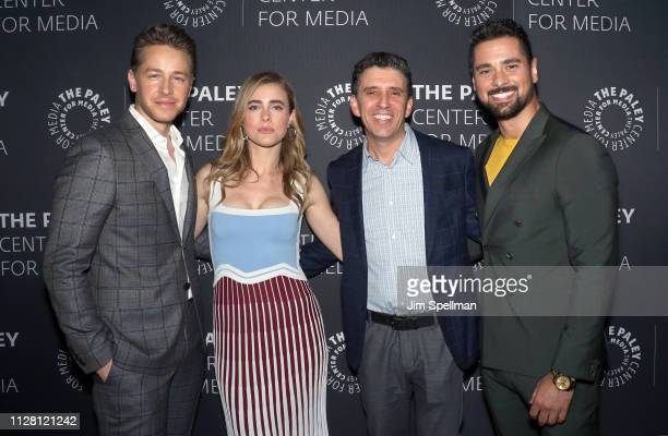 Actors Josh Dallas Melissa Roxburgh executive producer Jeff Rake and actor JR Ramirez attend the Manifest screening and discussion at Paley Center...