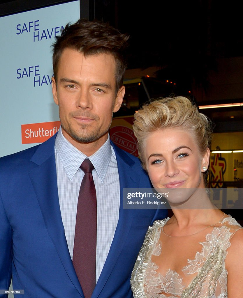 Actors Josh Duhamel (L) and Julianne Hough arrive at the premiere of Relativity Media's 'Safe Haven' at TCL Chinese Theatre on February 5, 2013 in Hollywood, California.