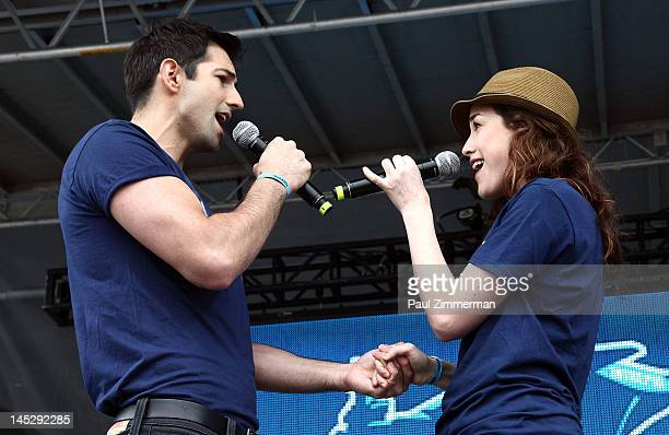 Actors Josh Franklin and Alison Luff perform during the 2012 Broadway Fleet Week Showcase at the Intrepid SeaAirSpace Museum on May 25 2012 in New...
