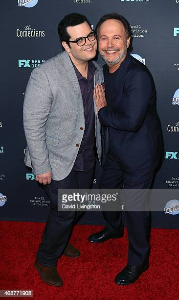 Actors Josh Gad and Billy Crystal attend the premiere of FX's 'The Comedians' at The Broad Stage on April 6 2015 in Santa Monica California