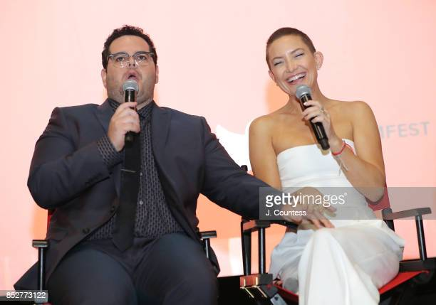 Actors Josh Gad and Kate Hudson onstage at the Q A for 'Marshall' during the 21st Annual Urbanworld Film Festival at AMC Empire 25 theater on...