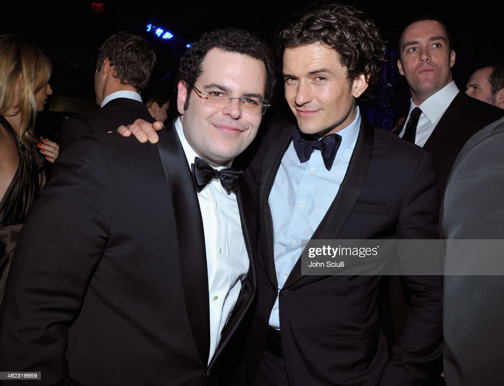 Actors Josh Gad and Orlando Bloom attend the 2014 InStyle And Warner Bros. 71st Annual Golden Globe Awards Post-Party at The Beverly Hilton Hotel on January 12, 2014 in Beverly Hills, California.