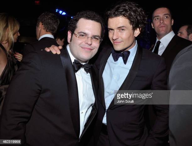 Actors Josh Gad and Orlando Bloom attend the 2014 InStyle And Warner Bros. 71st Annual Golden Globe Awards Post-Party at The Beverly Hilton Hotel on...