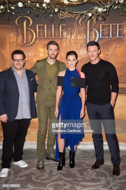Actors Josh Gad Dan Stevens Emma Watson and Luke Evans attend the Beast And Beauty La Belle Et La Bete Paris Photocall at Hotel Meurice on February...