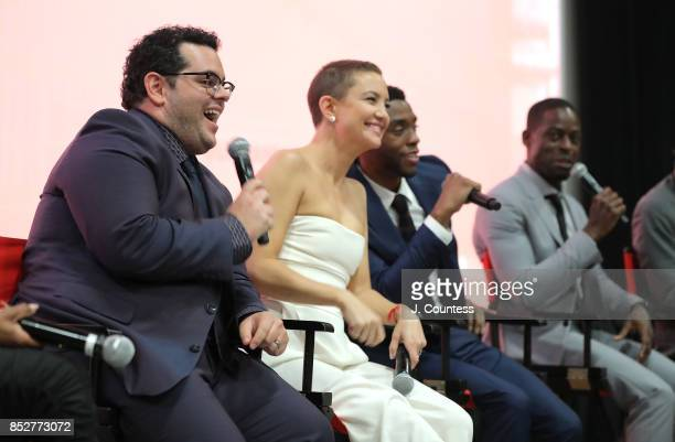 Actors Josh Gad Kate Hudson Chadwick Boseman and Sterling K Brown onstage at the Q A for 'Marshall' during the 21st Annual Urbanworld Film Festival...