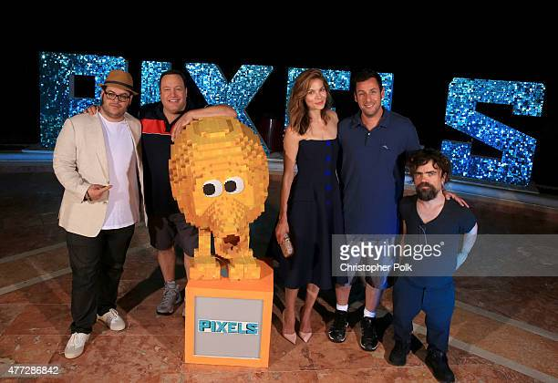 """Actors Josh Gad, Kevin James, Michelle Monaghan, Adam Sandler, and Peter Dinklage attend the """"Pixels"""" photo call during Summer Of Sony Pictures..."""