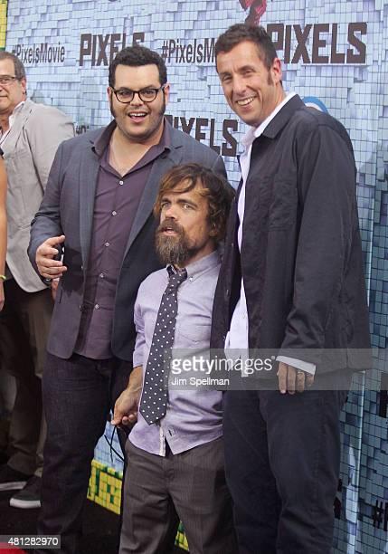 Actors Josh Gad Peter Dinklage and Adam Sandler attend the 'Pixels' New York premiere at Regal EWalk on July 18 2015 in New York City