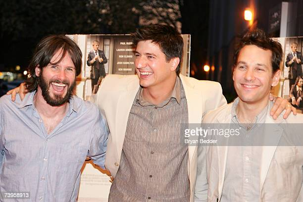 Actors Josh Hamilton Ken Marino and Paul Rudd attends the premiere of Diggers at Clearview Chelsea West Cinemas on April 23 2007 in New York City