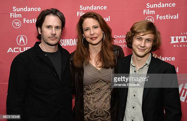 Actors Josh Hamilton Robin Weigert and Logan Miller attend the Take Me To The River premiere during the 2015 Sundance Film Festival on January 26...