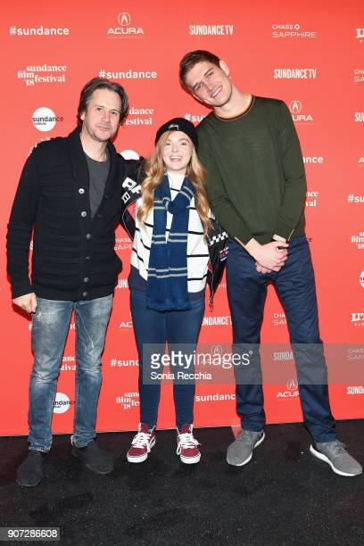 Actors Josh Hamiltonand Elsie Fisher with Comedian and director Bo Burnham attend the Eighth Grade Premiere during 2018 Sundance Film Festival at...