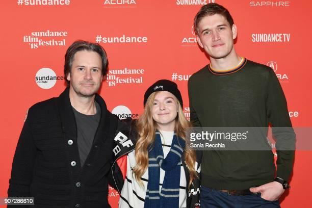Actors Josh Hamiltonand Elsie Fisher with Comedian and director Bo Burnham attend the 'Eighth Grade' Premiere during 2018 Sundance Film Festival at...