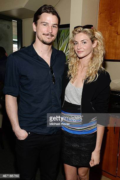 Actors Josh Hartnett and Tamsin Egerton visit The Moet and Chandon Suite at the 2015 BNP Paribas Open on March 21 2015 in Indian Wells California