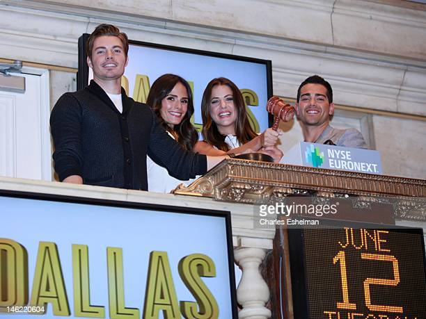 Actors Josh Henderson Jordana Brewster and Julie Gonzalo and Jesse Metcalfe ring the closing bell at the New York Stock Exchange on June 12 2012 in...